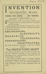 Advert For Invention And Inventors Mart, Periodical